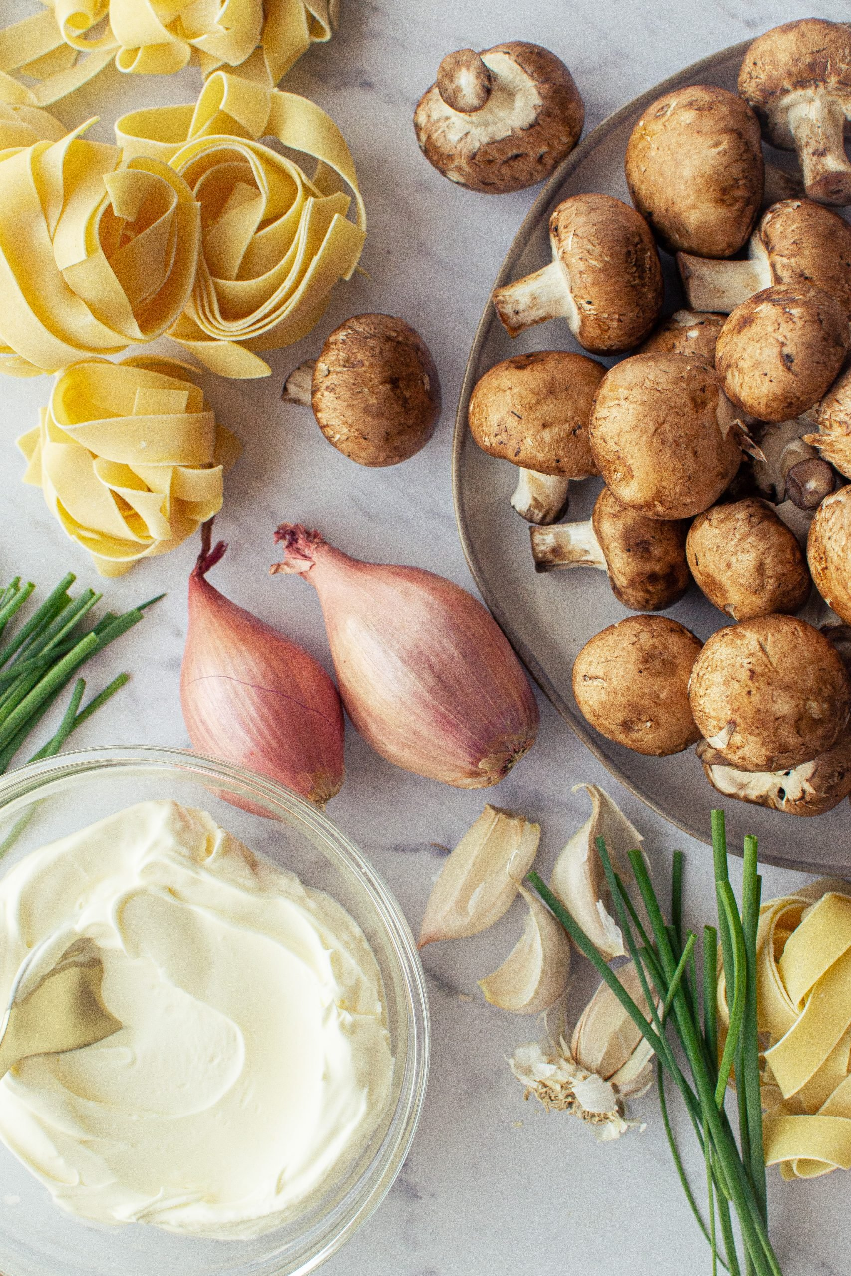 ingredients for creamy braised beef stroganoff, shallots, mushrooms, creme fraiche, garlic, chives, pappardelle noodles