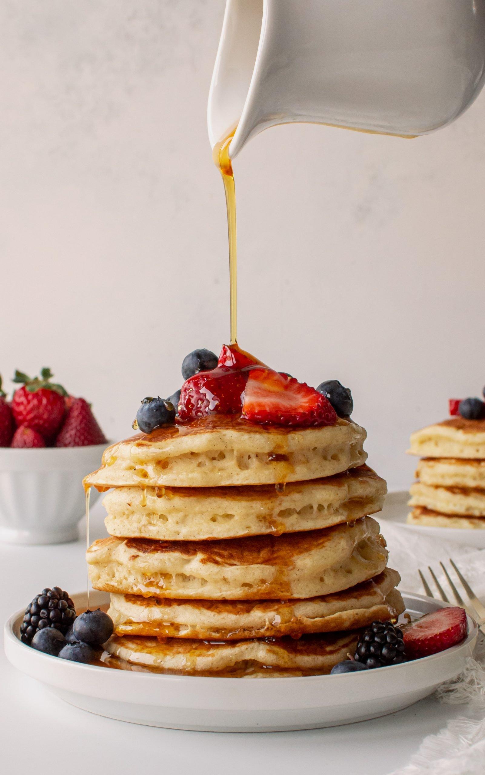 fluffy homemade buttermilk pancakes