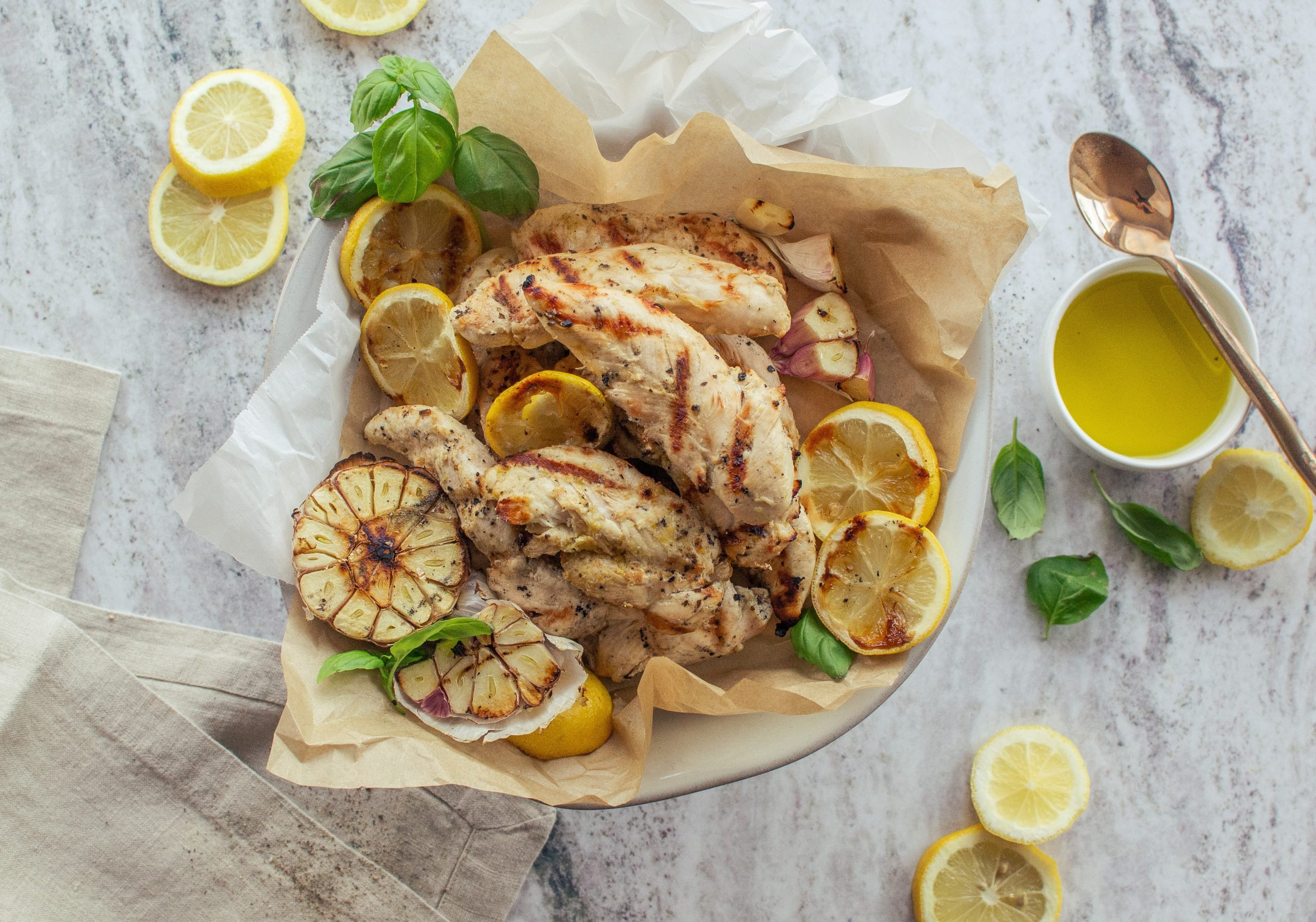 lemon garlic basil marinated grilled chicken