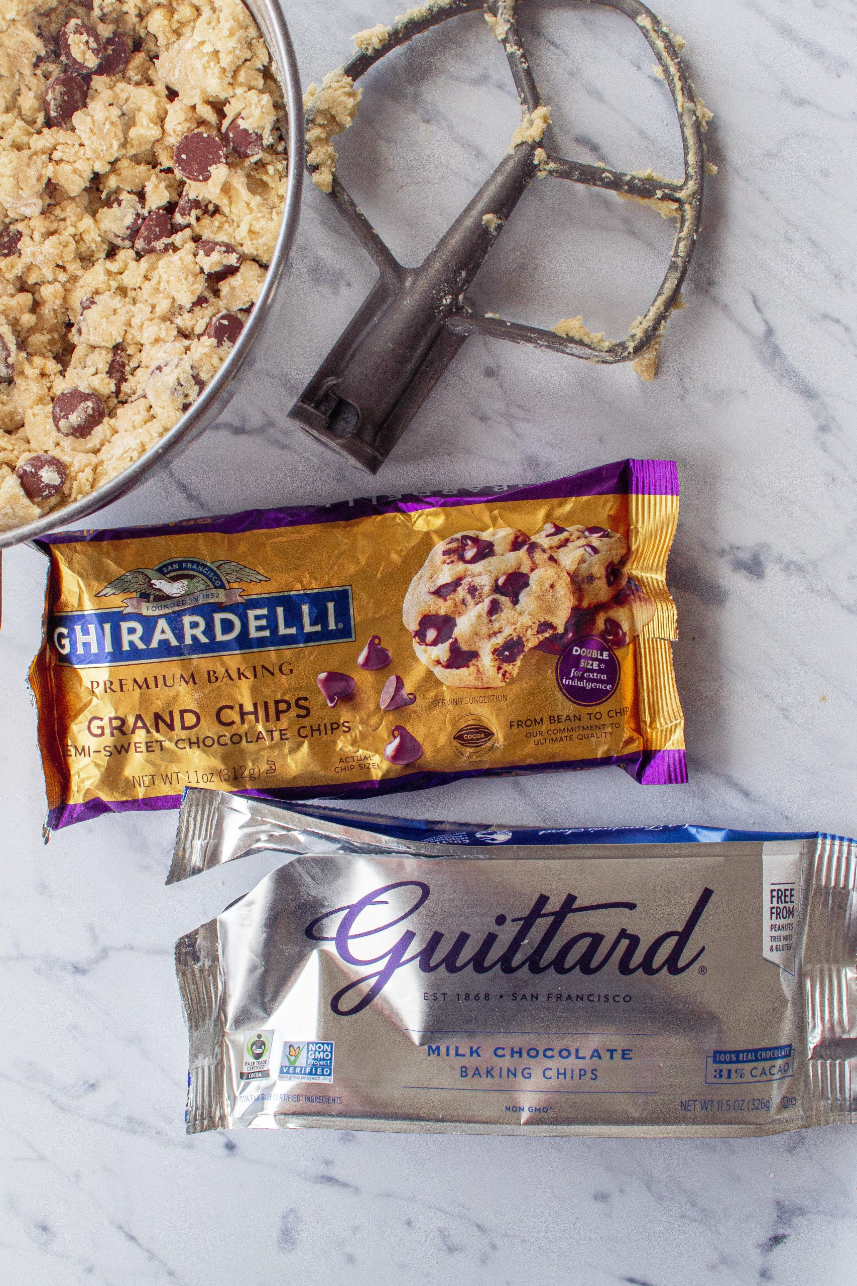 Best baking chocolate chip varieties to use. Guittard is milk chocolate chips and Ghirardelli is bittersweet chocolate chips