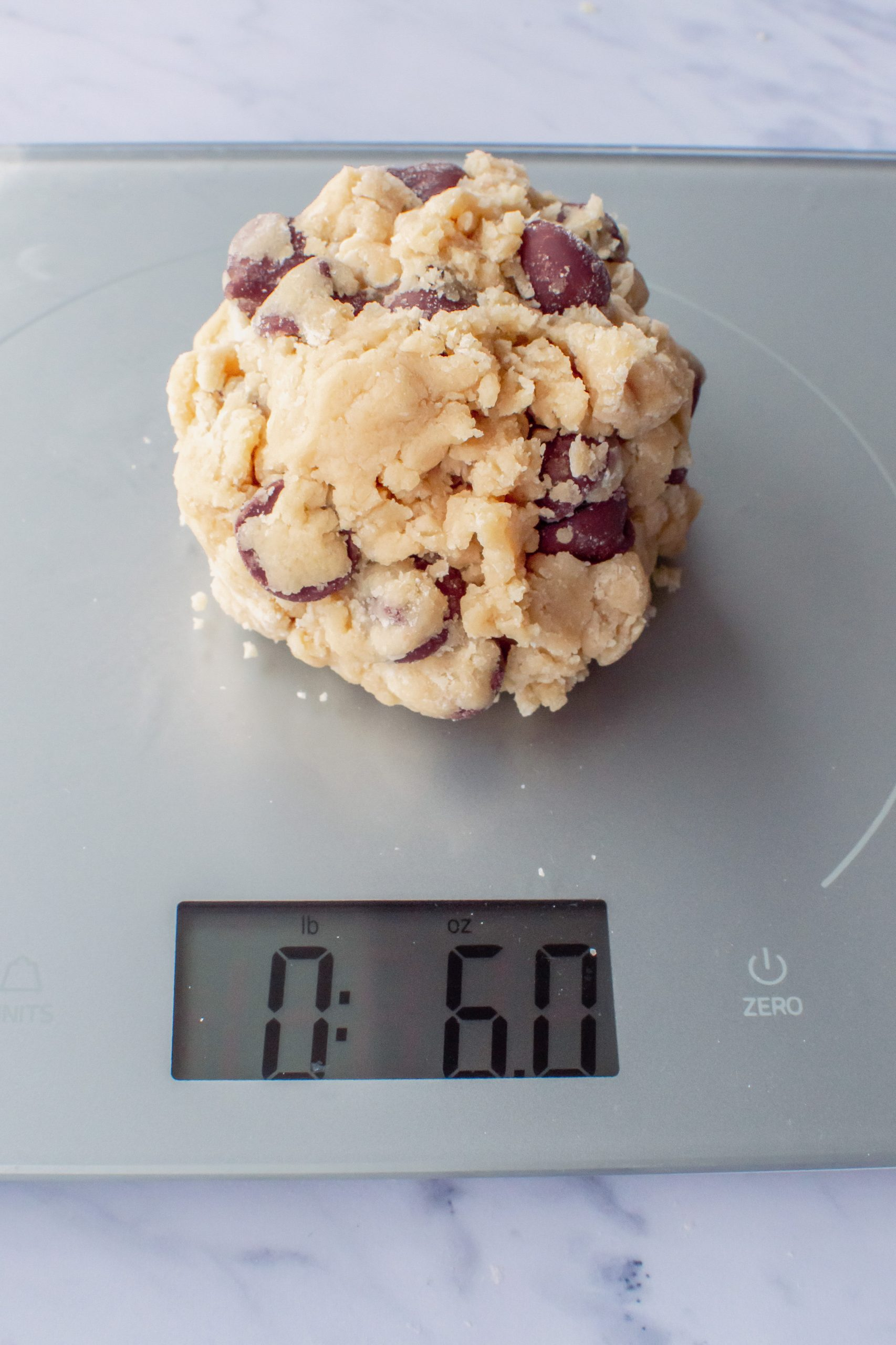 size of cookie dough ball portions for Crumbl Copycat Chocolate Chip Cookies Recipe