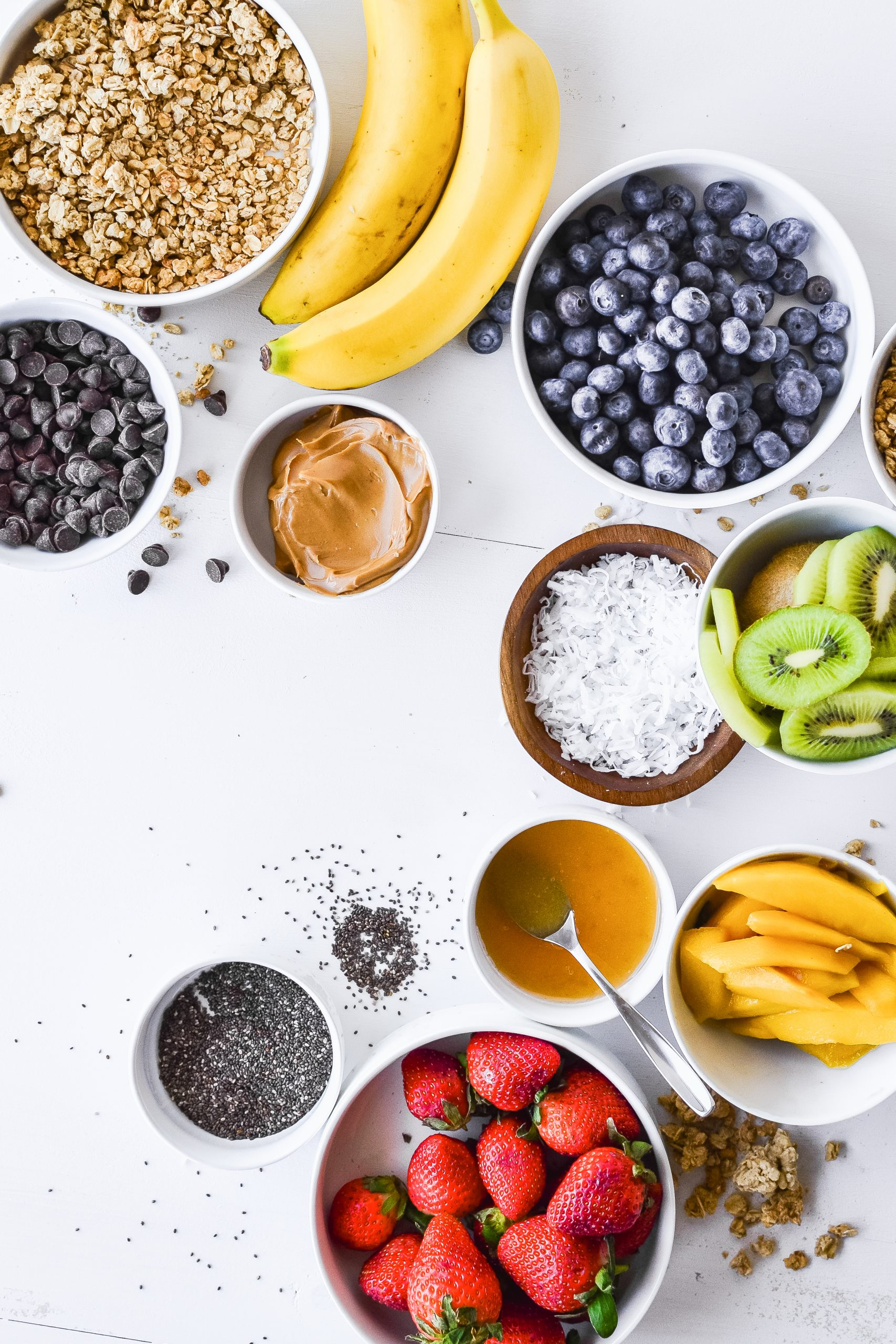 possible topping ingredients for acai bowls