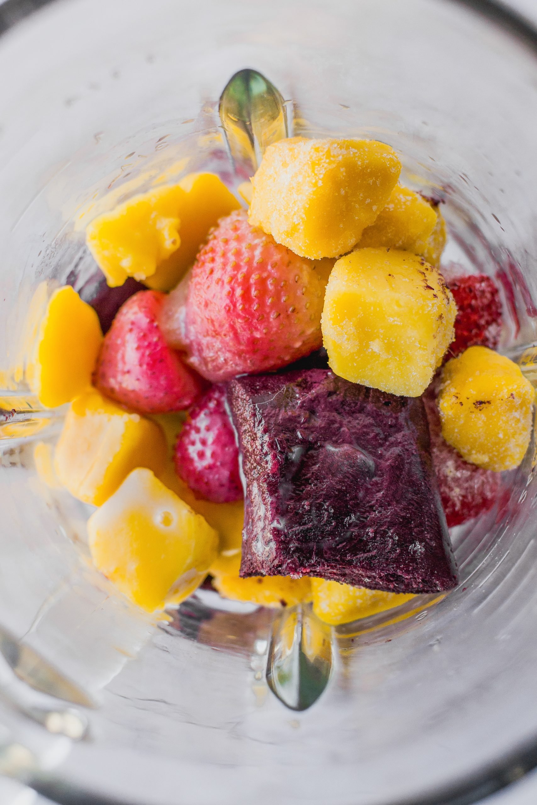 frozen fruit, frozen acai in blender