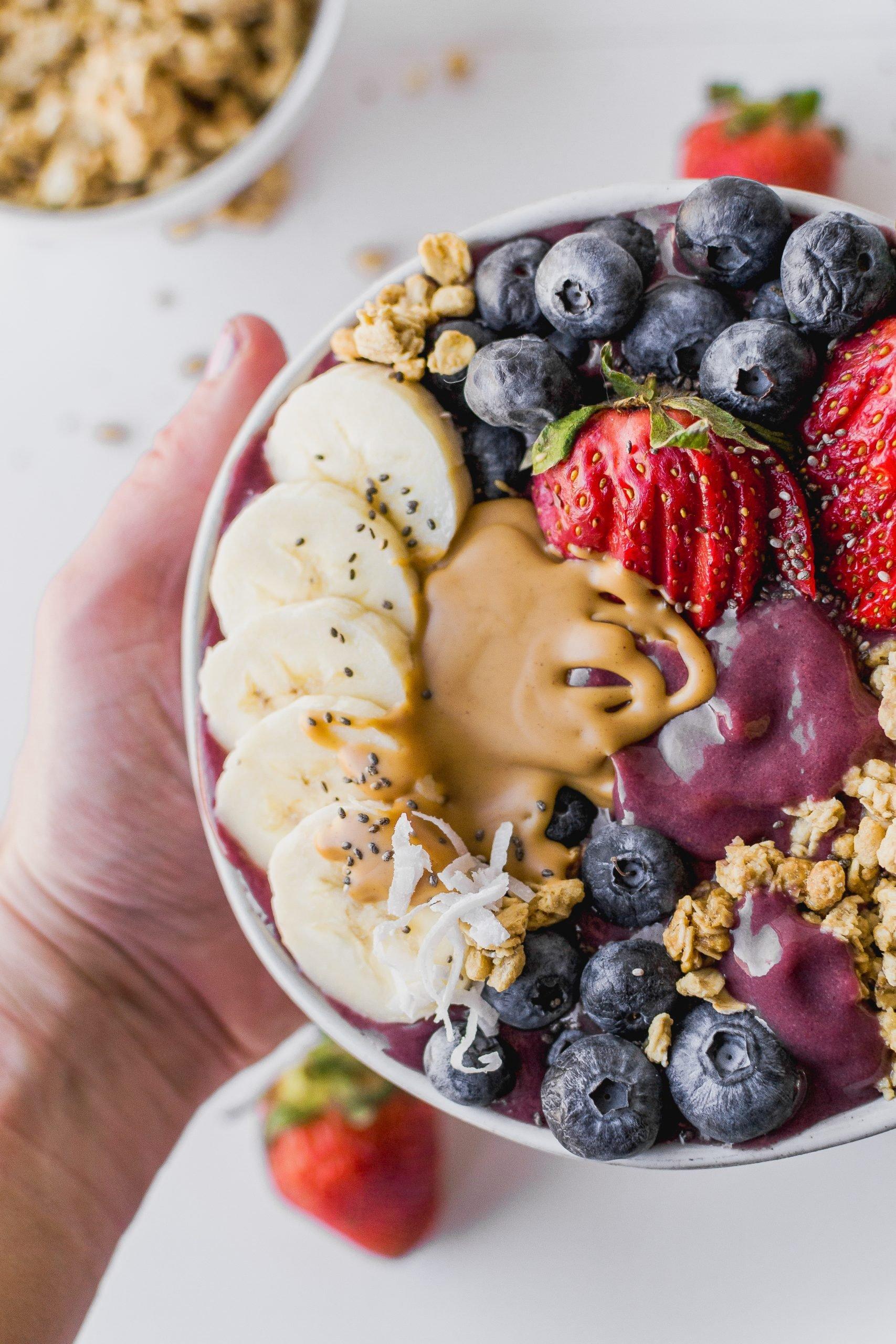 healthy breakfast or snack acai bowl